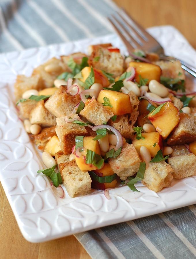 Peach & Cornbread Panzanella